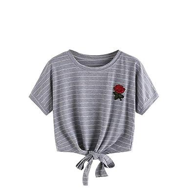 Camisas Mujer, ❤️Xinan Blusa de Mujer Sexy Tops Halter Apliques Rose Manga Corta Camisa