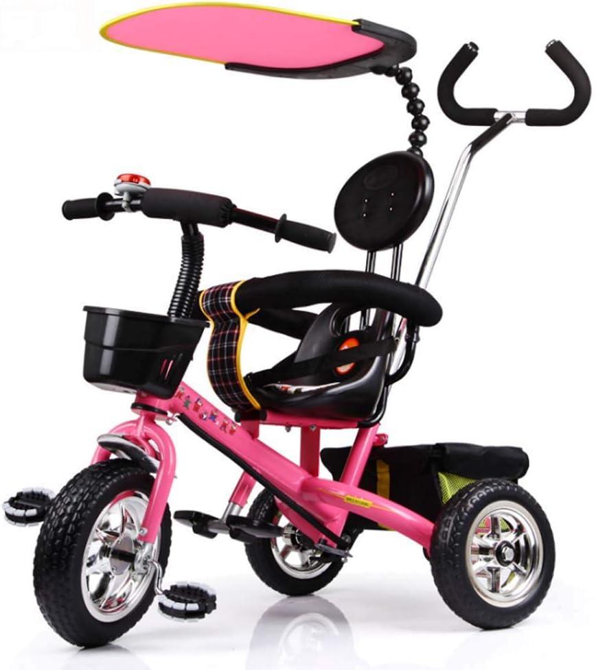 GJX Triciclo para niños, Cochecito de Bicicleta de 1-6 años, Cochecito de Triciclo, Cochecito para niños (Color : Peach Powder)
