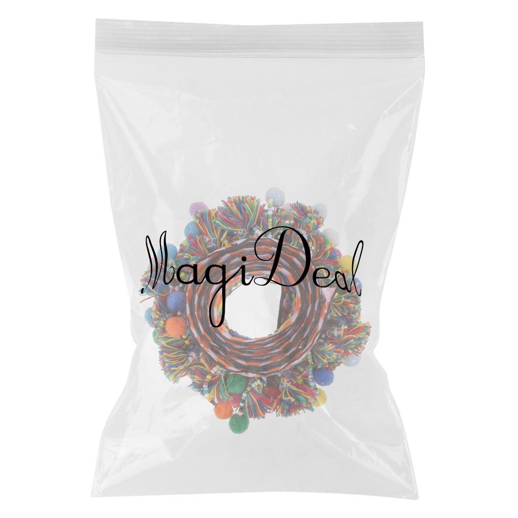 MagiDeal 1 Yard Colorful Pompom Pom Pom Bead Fringe Tassels Braid Jacquard Ribbon Sewing Trim for Decoration 60mm Multicolor