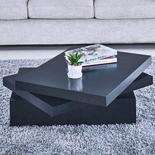 NewRetailGlobal Black Square Coffee Tables Rotating Contemporary Living Room Furniture (Contemporary Square Table)
