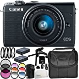 Canon EOS M100 Mirrorless Digital Camera with 15-45mm Lens (Black) 11PC Accessory Bundle – Includes 32GB SD Memory Card + MORE - International Version (No Warranty)