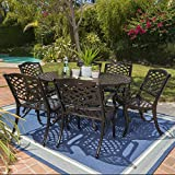 Clarisse Outdoor 7 Piece Finished Aluminum Dining Set with Expandable Aluminum Table (Hammered Bronze)