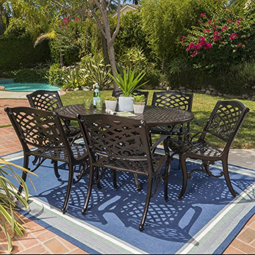 Clarisse Outdoor 7 Piece Finished Aluminum Dining Set with Expandable