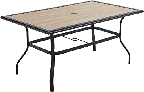 VICLLAX Patio Dining Table Wood-Like Table Top Sturdy Metal Frame