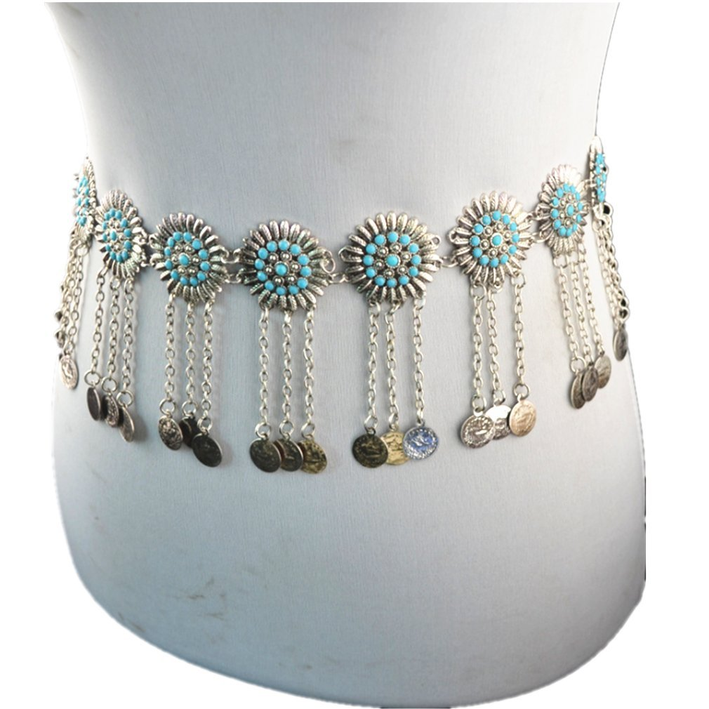 Carinloing women's fashion sexy metal sunflowers coin body belly chain