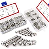 Hilitchi 500-Piece M2 M3 Hex Socket Button Head Cap Bolts Screws Nuts Assortment Kit Stainless Steel