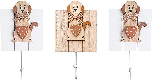 SPOTTED DOG GIFT COMPANY Ganchos de Pared percheros Ropa de uno Sola Gancho para Puerta o Pared dise/ño de Perro de Color Madera Blanco