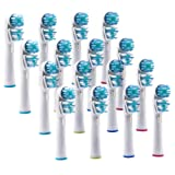 Sorliva SB417A Dual Clean Replacement Brush Heads Compatible with Oral-B Electric Toothbrush (16 Pack)