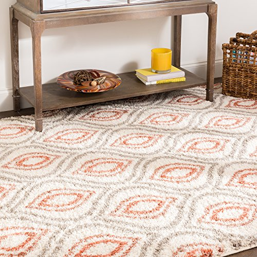 Mohawk Home Laguna Ogee Waters Coral Geometric Contemporary Soft Shag Area Rug, 5' x 8', Coral and Grey ()