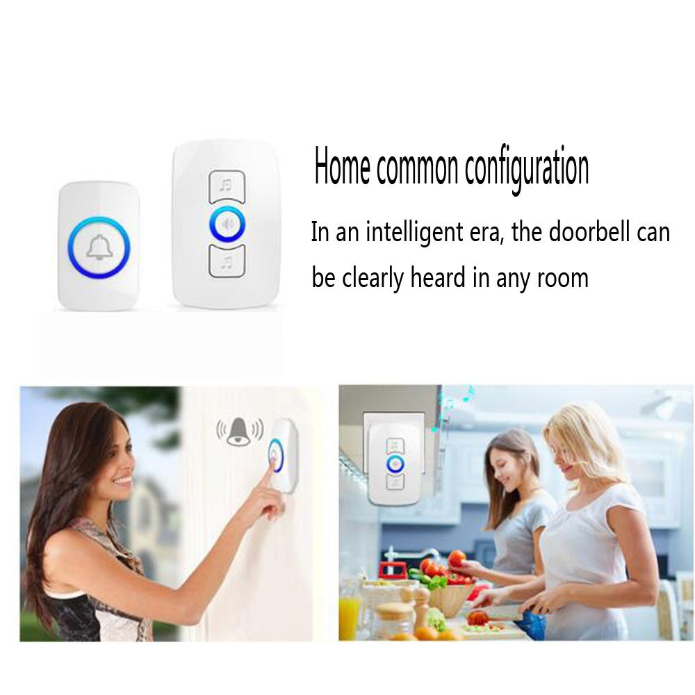 NQFL Wireless Doorbell Call Mobile Old Caller Home Voice Intercom Long-distance Call,White1Receiver+2Button by NQFL (Image #7)