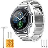 HATALKIN Compatible with Samsung Galaxy Watch 3 Band Bands 45mm Accessories Stainless Steel Metal Replacement Strap for…