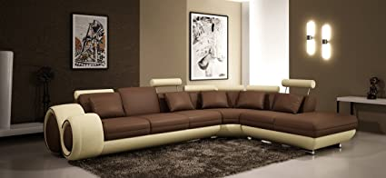 Amazon.com: 4086 Modern Leather Sectional Sofa with Recliners ...