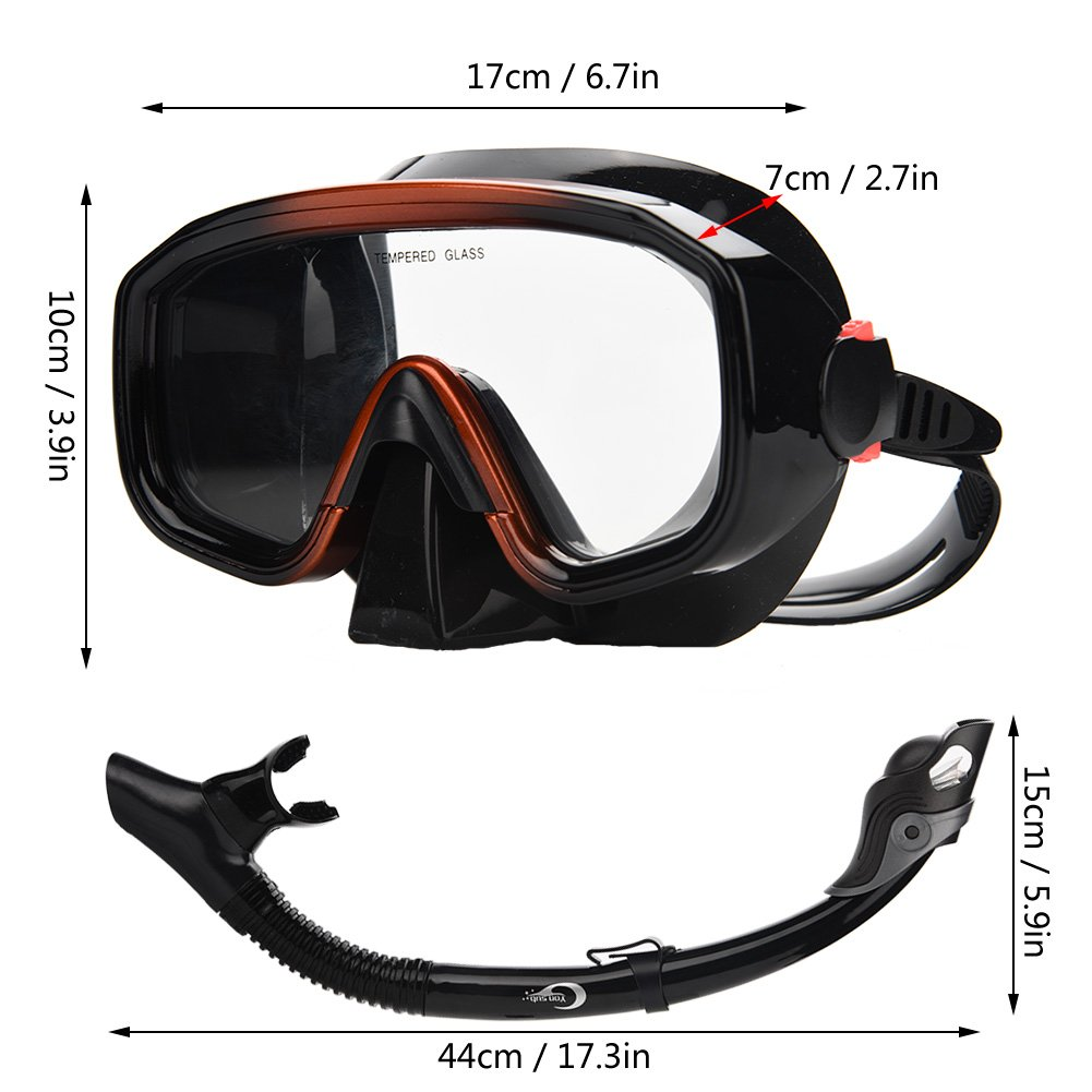 Adults Anti-Fog Diving Goggles and Scuba Dry Breathe Tube for Scuba Snorkeling Diving Swimming Snorkel Set