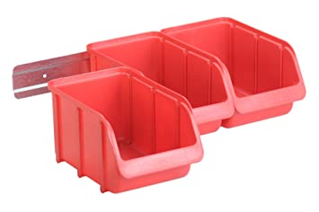 Hünersdorff Juego de cajas de almacenaje a la vista PP con guía metálica 3 x tam. 3, rojo: Amazon.es: Bricolaje y herramientas