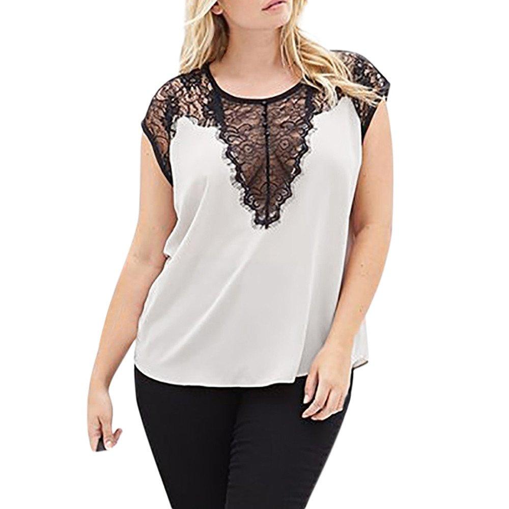 Women Sex Lace V Neck Short Sleeve Tops,Plus Size Patchwork T Shirt Loose Casual Blouse (XL, White)