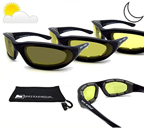 1757abbd87 Amazon.com  Photochromic lenses Light Adjusting Motorcycle Sunglasses Foam  Padded for Men and Women. Free Microfiber Cleaning Case Included.