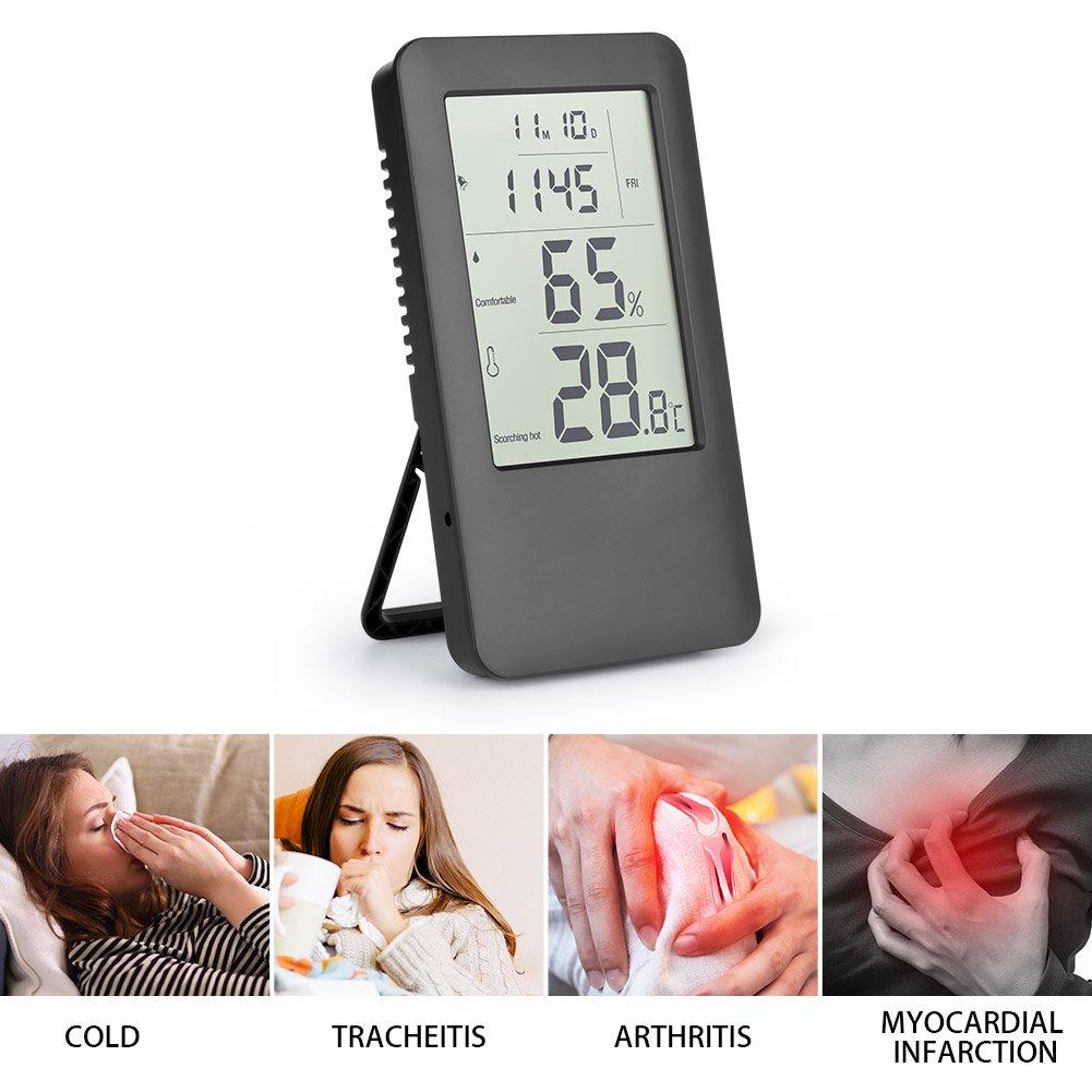 Termómetro Higrometro Digital, Hotchy Medidor de humedad Digital Termo-higrómetro Monitorización del aire interior con pantalla LCD Reloj despertador para ...