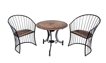 Wooden Coffee Table Set with Chair for Living Room Tea Table Set for Garden Wooden & Iron Carved,Decorative Folding Table with 2 Chair Set