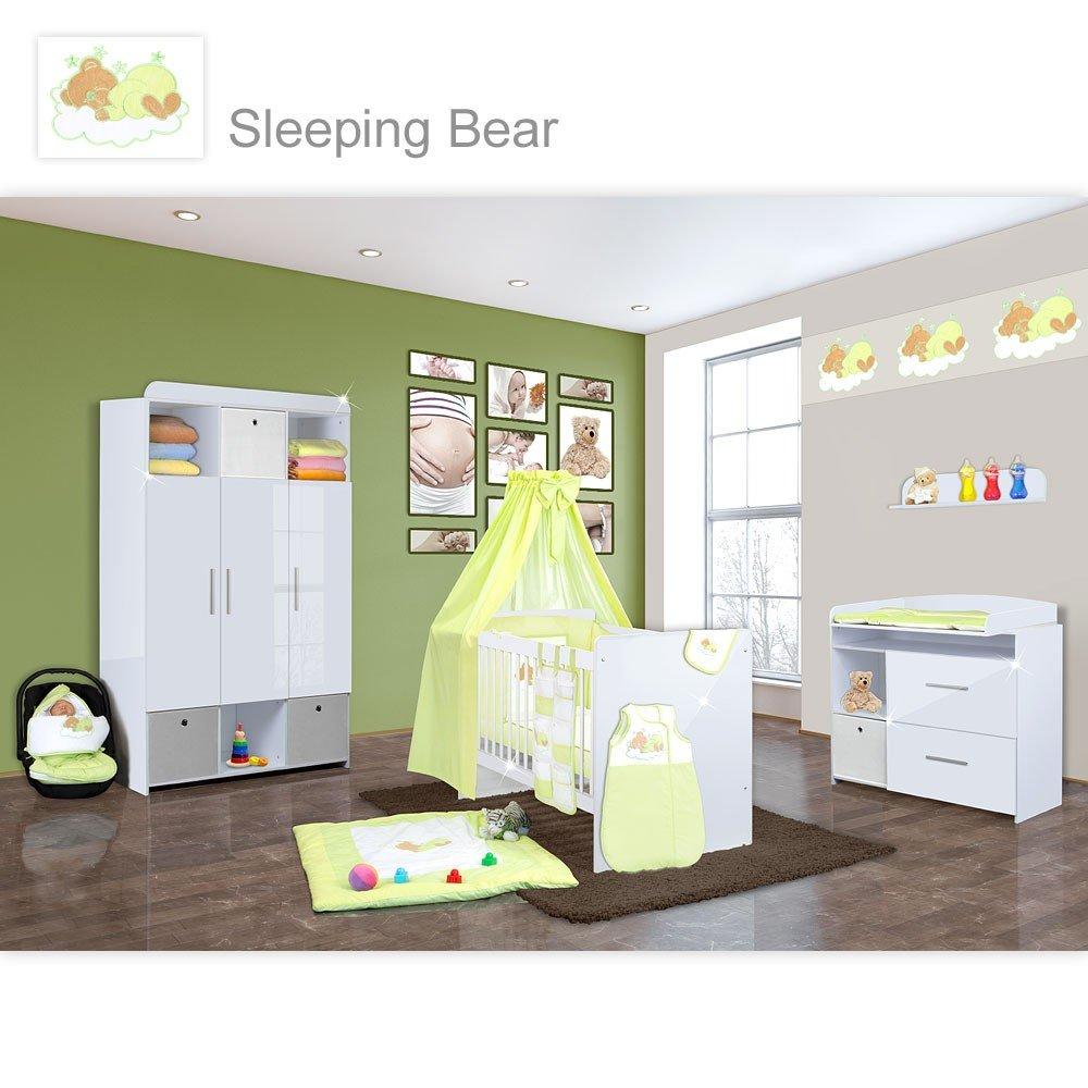 Babyzimmer Mexx in Weiss Hochglanz 22 tlg. mit 3 türigem Kl. + Sleeping Bear Grün
