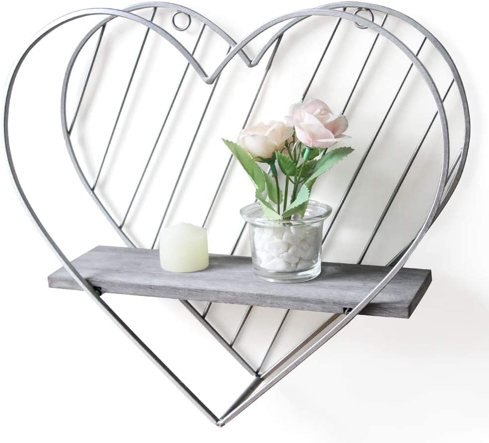 Afuly Rustic Floating Shelf Grey Shelves for Wall Metal Heart Cute Decor Silver Farmhouse Design for Kids Bedroom Bathroom Toilet