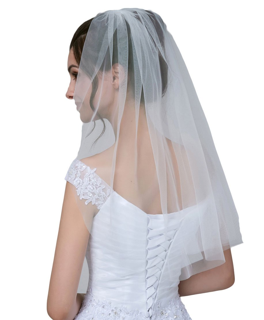 Simlehouse Tulle Single Layer Elbow Length White Wedding Veils for Bride with Comb