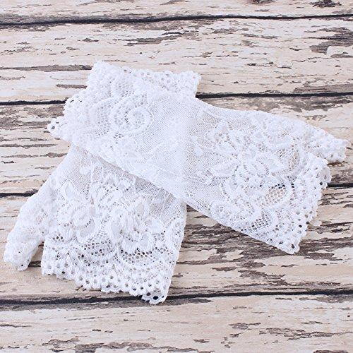 Diamondo Lace Gloves for Women Fingerless Short Soft Gloves Party Wedding Bridal (White)