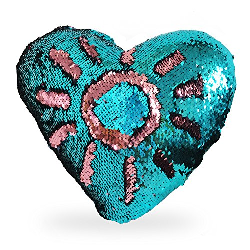 LIANXIANG Mermaid Throw Pillows Two-Color Reversible Sequins Mermaid Heart-Shaped Pillow Cover with Insert 13×15 (Blue+Pink)