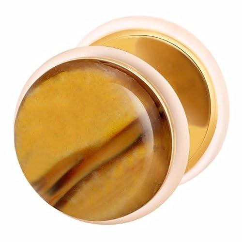 Dilatador Falso Piercing Plug Dorado, Pendiente, Piedra Tiger Glass: Amazon.es: Joyería