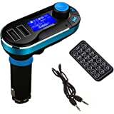 Wireless Bluetooth Car FM Transmitter with Dual USB Port 2.1A Car Charger Support SD/TF Card In-car MP3 Player (Blue)