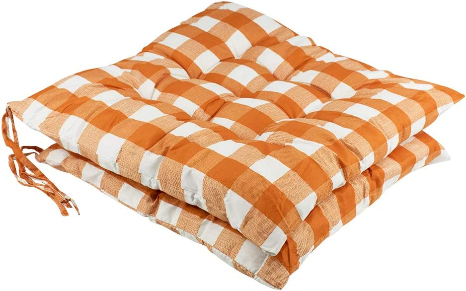 youta Seat Patio Cushion Reversible Set of 2 Chair Cushions Furniture Garden Square Chair Pads for Home Office Outdoor Indoor 15x15 inch Orange Checkered
