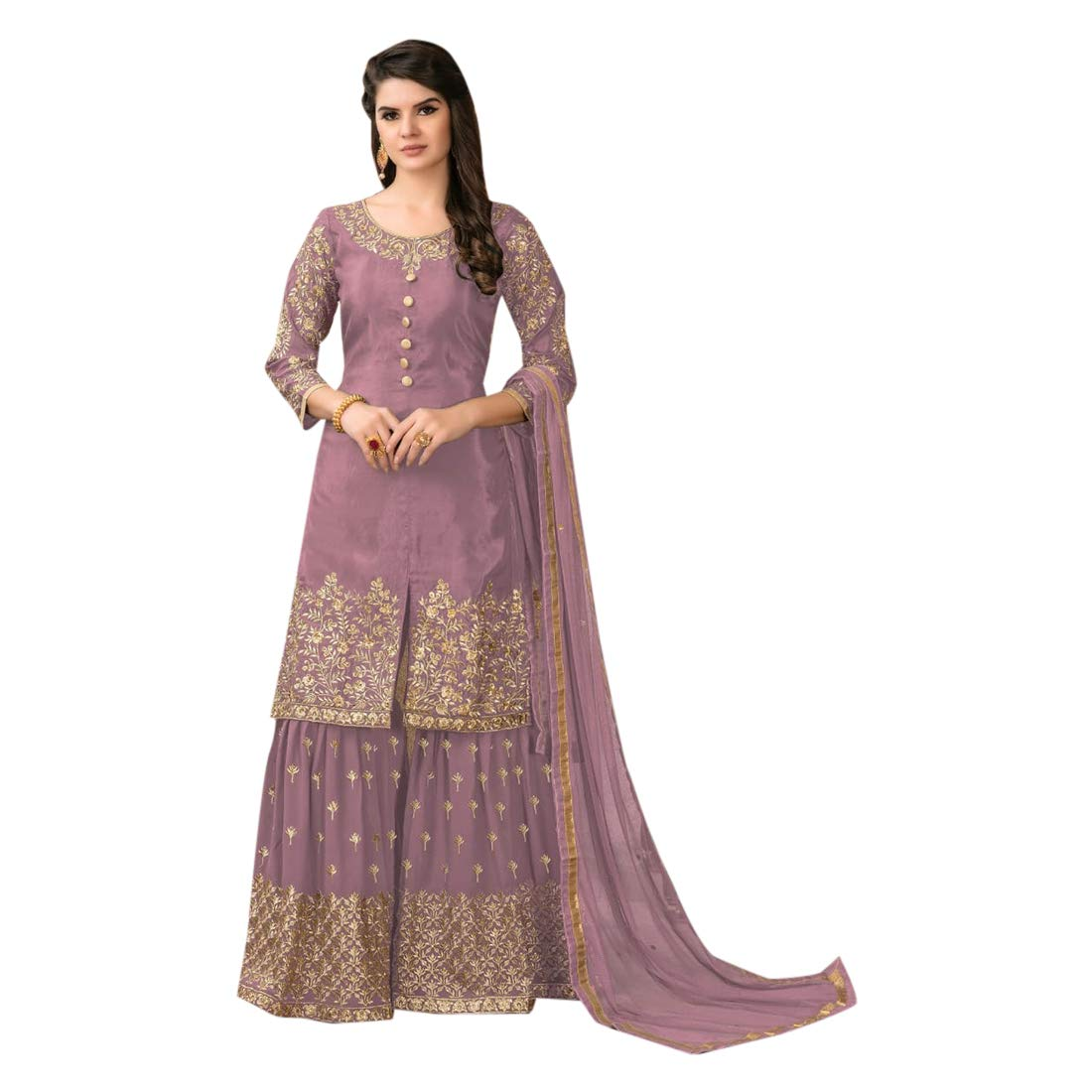 Pale Purple Bollywood Designer Upada Silk Garara Suit Indian Muslim Ethnic Women dress Party wear Semistitch 7936