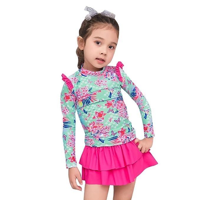 1522c52248 Collager Toddler Girls Long Sleeve Swimsuit Kids Rash Guard Sunsuit UPF 50+  UV (3