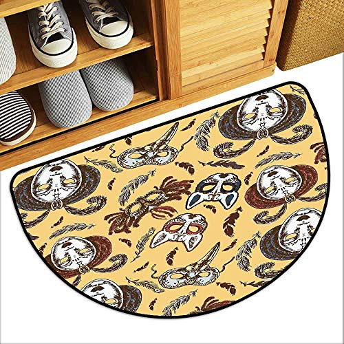 - DILITECK Fashion Door mat Masquerade Venetian Style Paper Mache Face Mask with Feathers Dance Event Theme Super Absorbent mud W36 xL24 Mustard Brown White