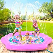 "PRINCESSEA Splash Pad for Girls, XL 70"" Outdoor Mermaid Children's Water Pad, Wading Pool & Sprinkler"