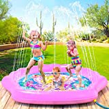 "PRINCESSEA Splash Pad for Girls, XL 70"" Outdoor Mermaid Children's Water Pad, Wading Pool & Sprinkler for Kids - Inflatable Kiddie Swimming Pool, Water Toy for Babies and Toddlers 12 Months & Up"