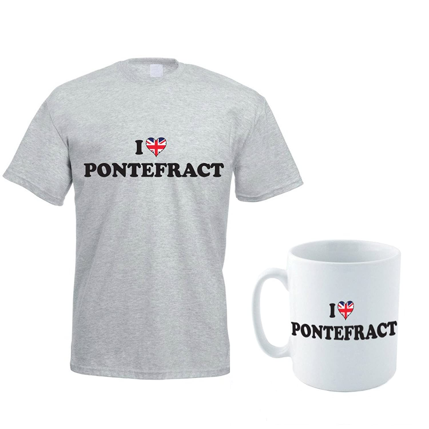 I LOVE PONTEFRACT - West Yorkshire / County / Rose / Novelty Themed Men's T-Shirt and Ceramic Mug Set