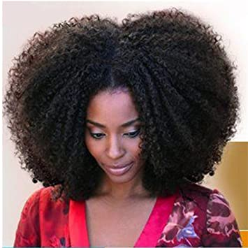 YAMI Unprocessed Virgin Brazilian Afro Kinky Curly Human Hair Extensions  for Black Women Natural Black 100g 542bec118