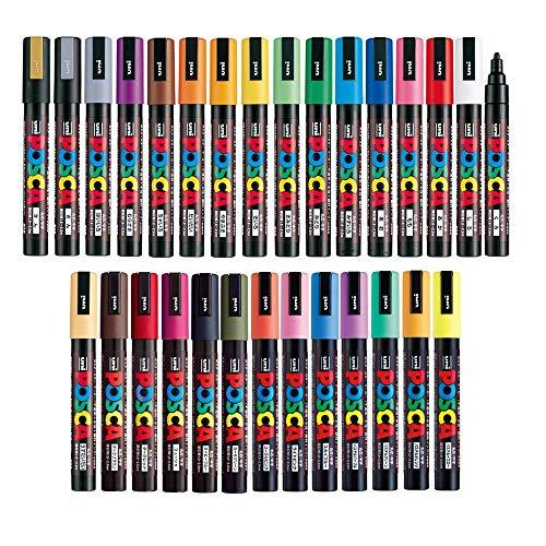 (Uni Posca Paint Marker FULL RANGE Bundle Set , Mitsubishi Poster Colour ALL COLOR Marking Pen Medium Point ( PC-5M ) 29 Colours ( 22 Standard & 7 Natural ) Japan Import)