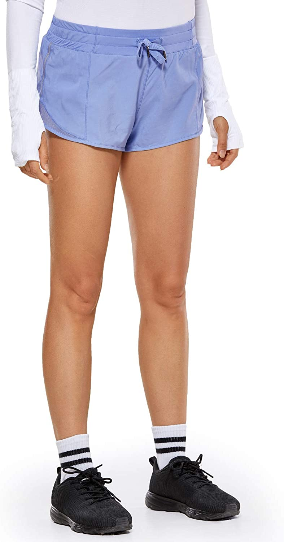 CRZ YOGA Pantalones Cortos Running Mujer con Bolsillo Trasero para Gimnasio-6cm