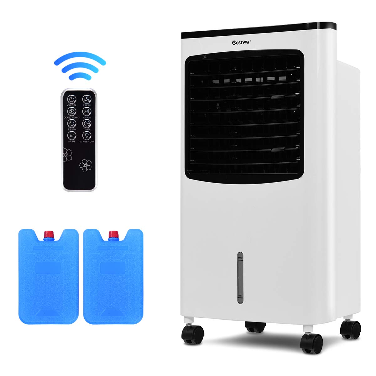 COSTWAY Evaporative Air Cooler, Portable Air Cooler with Fan & Humidifier Bladeless Quiet Electric Fan w/Remote Control for Indoor Home Office Dorms (29'' H)