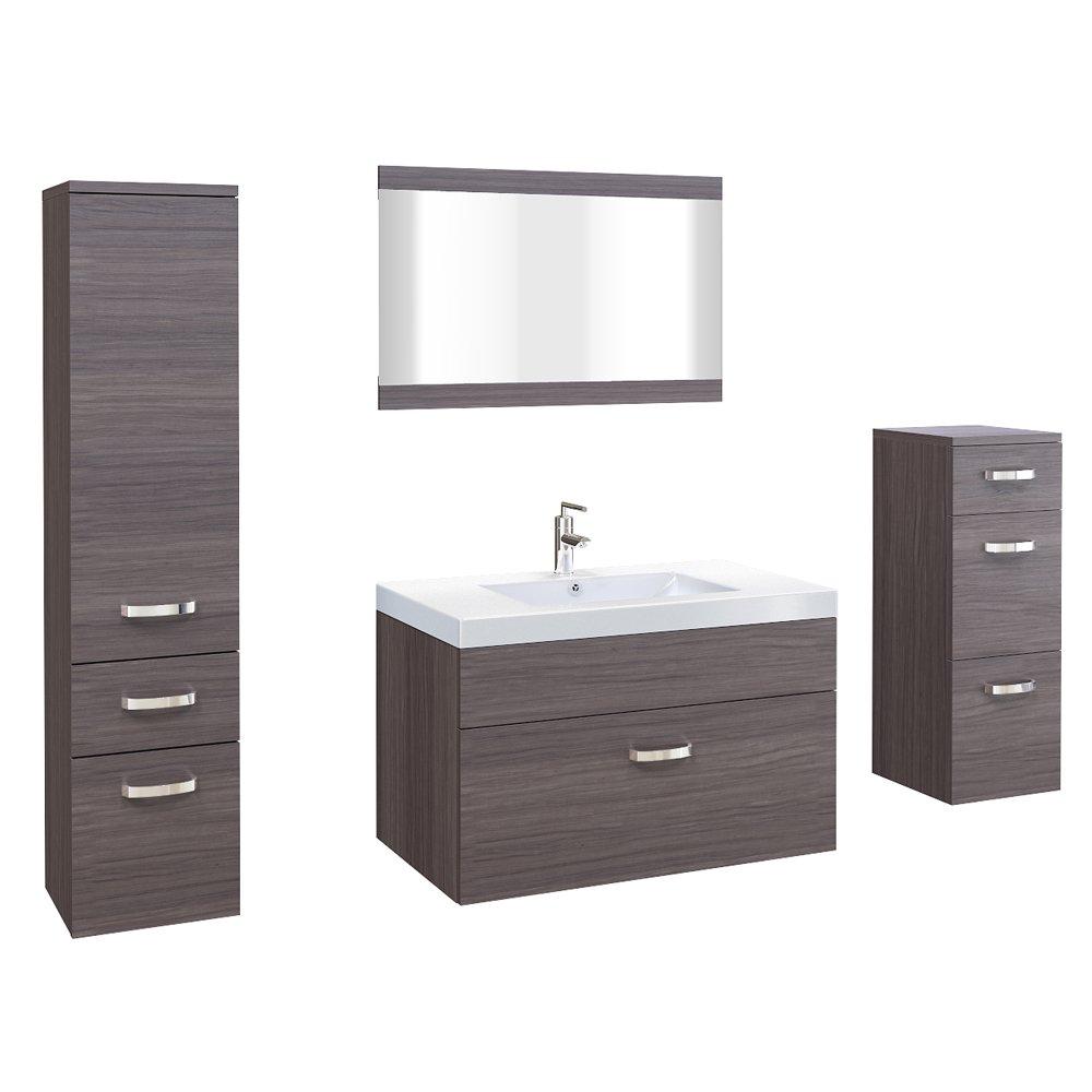 Badmöbel Badezimmer Set Badezimmermöbel Braun MDF Edel 5 teilig ...