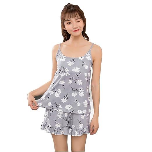 241f95326707 Women Pajamas Suit Sexy Home Sleepwear Shortless Sleeve Pyjamas with ...