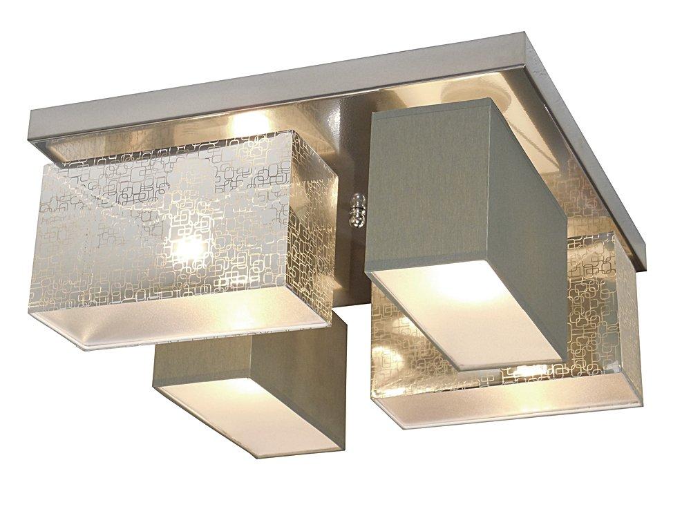 Deckenlampe - Wero Design Eris-004 B (Silber B Dunkelgrau) - Deckenleuchte, Leuchte, 4-flammig, Metall, Stoff, LAMPENSCHIRME MIT BLENDEN
