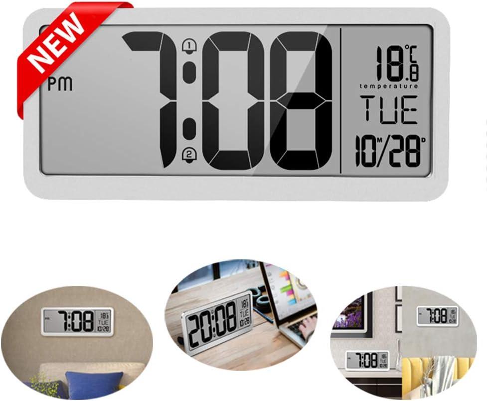 Kingknow Calendario Digital Reloj de día Reloj de Pared Digital con Hora y Fecha Grandes y claras Día de la Semana y Pantalla de Temperatura Alimentado por batería