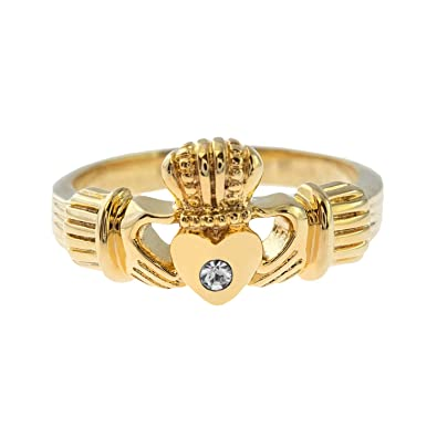 78e53bd13 Amazon.com: Providence Vintage Jewelry Clear Swarovski Crystal 18k Gold  Plated Claddagh Ring: Jewelry