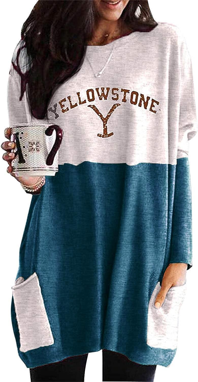 Nirovien Womens Yellowstone Long Sleeve Sweatshirt Dress Casual Color Block Tunic Tops with Pocket