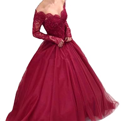 XPLE Ball Gown Lace Burgundy Prom Gowns 2018 Long Sleeve Off Shoulder V-Neck Tulle