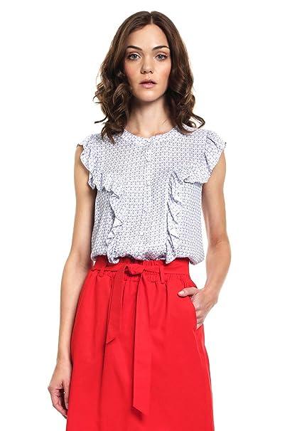 ca04ef216181 Marsel Blusa Azul con Escarolas Blusa para Mujer