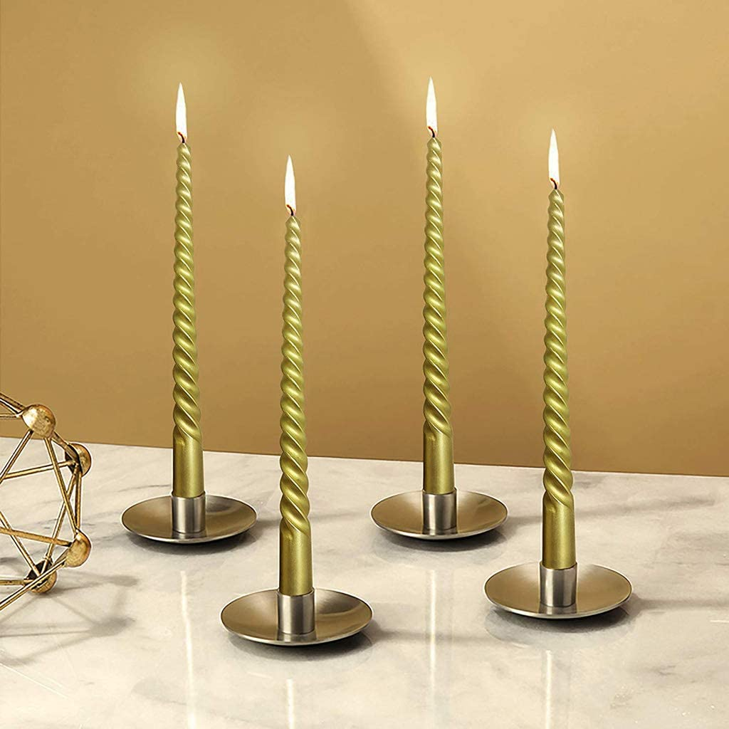 Twisted Smokeless Dinner Table Long Candles Wax Taper-Spiral 12 Pcs//Set