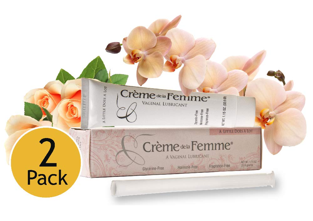 Creme De La Femme Vaginal Lubricant Naturally End Vaginal Dryness, Hormone-Free, Glycerin-Free, Alcohol-Free, Vaginal Dryness Relief, Won't Cause Yeast Infection, Includes Free Applicator (2) by Creme de la Femme